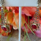 VINTAGE FILIGREE & FAUX RUBY CLIP ON EARRINGS