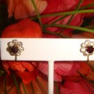 VINTAGE RHINESTONE & FAUX GARNET STONE SET IN GOLD TONE ~ SCREW BACK EARRINGS