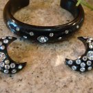 VINTAGE CELLULOID TYPE BRACELET & CRESENT MOON RHINESTONE CLIP EARRINGS