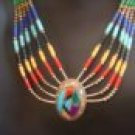 Vintage Native American Style Southwestern Sterling Silver Inlay Necklace