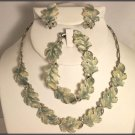 Lovely  Vintage Oak Leaf Necklace, Earrings and Bracelet set