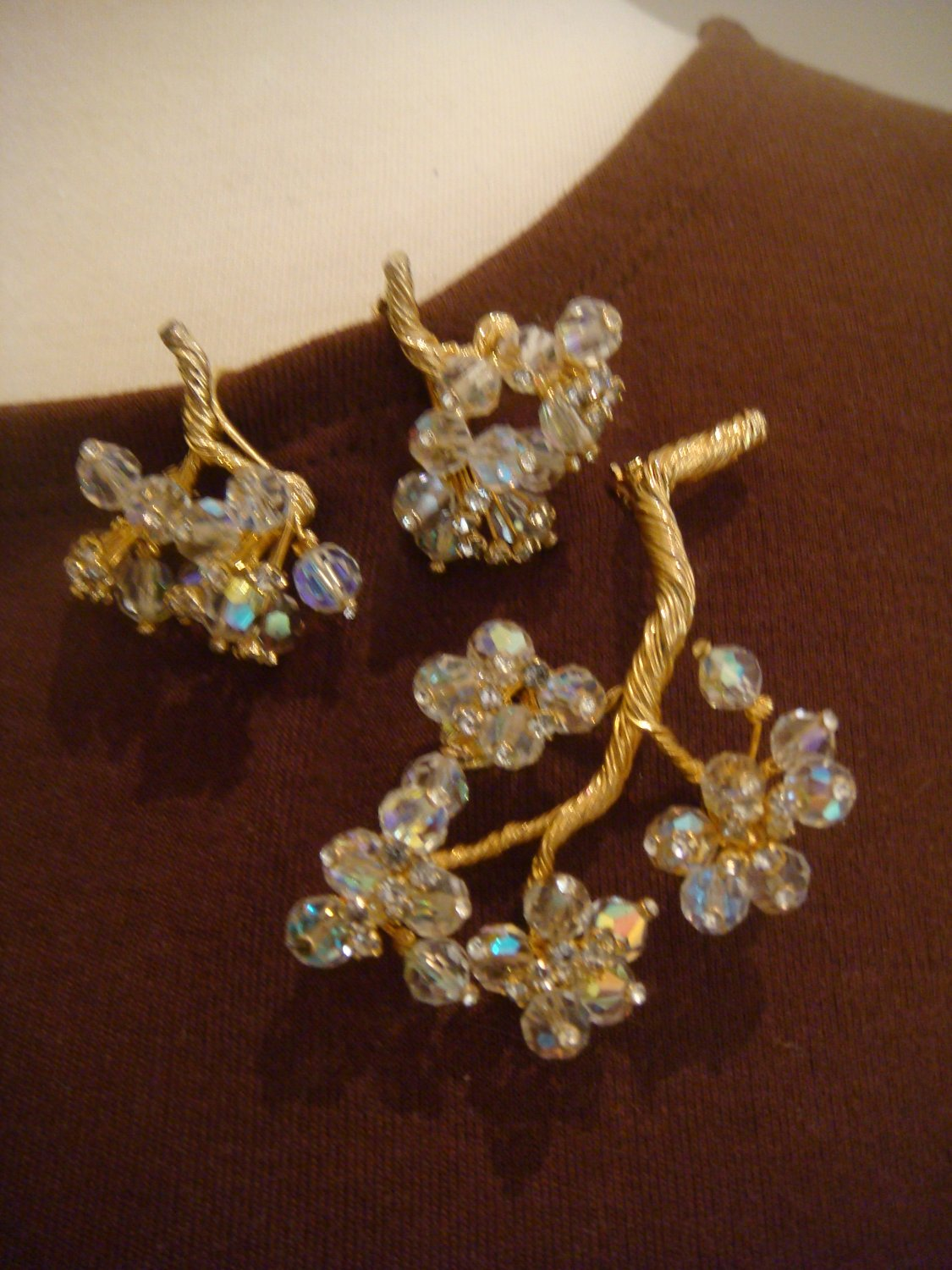 Estate Vintage Vendome Rhinestone and AB Earrings and Brooch set