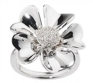 Affinity Diamond Ring 1/10 ct tw Pave' Flower Size 8