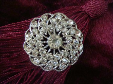 Vintage Estate Unsigned Rhinestone Sun Burst Brooch Pin