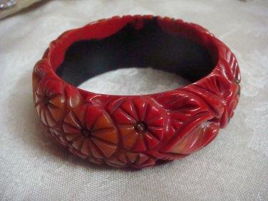 Estate Vintage Morning Bakelite, Celluloid Plastic Carved Bangle Bracelet