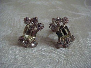 Estate Vintage Signed Weiss Yellow & Clear Rhinestone Screw back earrings