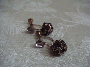 Estate Vintage Signed Weiss Purple Amethyst  Rhinestone Screw back Dangle earrings