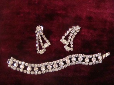 Estate Vintage Rhinestone Earrings and Bracelet Set