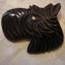 Estate Vintage Bakelite, Celluloid Plastic Carved Scottie Dog Brooch Pin