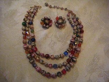 Estate Vintage Japan Multi Strand Beaded Necklace and Earring Set