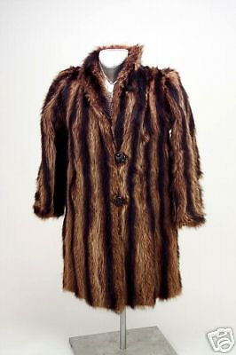 Vintage Ladies Racoon Fur Coat Kaplan of Buffalo 1940s Original owners BROWN Exc