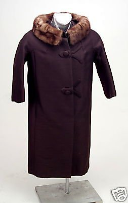 Vintage Ladies Wool Brown Coat Brown Fur Collar 1940s Original Owners Excellent