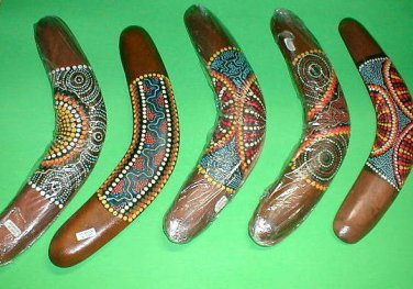 "Boomerang Aboriginal Made in Bali 12"" Long  Handmade Medium"