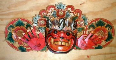 "Bali Hindu Boma Mask Great for Entrance way Hand carved 16"" several color choice"
