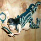 Dewi Rice Goddess Flying Hanging Lady Hand Wood Comb + Mirror 11""