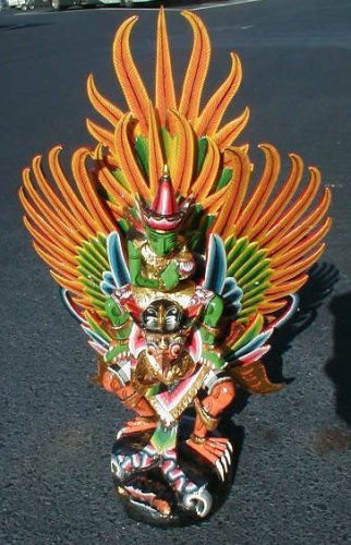 "Vishnu riding on Garuda handmade wood carving from Bali Indonesia 18"" size"