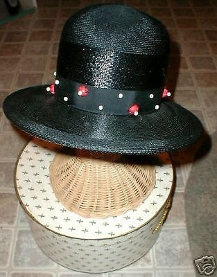Lady's Black Straw Hat Wood beads Chesterfield VINTAGE with BONUS Antique Brooch