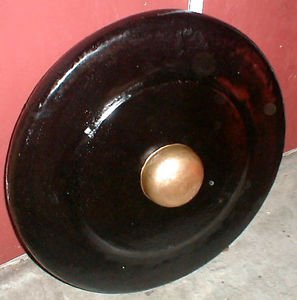"Gong Metal Boss Nipple Java Bali 32"" w/ LARGE Teak Wood Mallet Striker Indonesia"