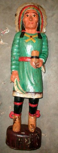 "Cigar Store Indian Bali Wood Statue Hand carved Large 39"" H antique style"