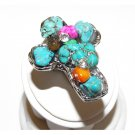 Chunky Turquoise And Rhinestone Ring