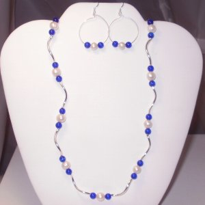 Cat's Eye And Pearl Necklace Set (cobalt blue)