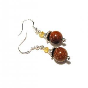 Goldstone And Swarovski Crystal Earrings