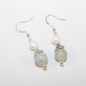 Freshwater Pearl And Carved Jade Earrings