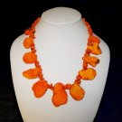 Orange Turquoise Slab Necklace