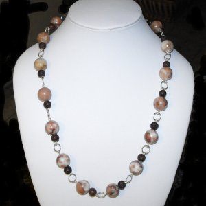 Milk Chocolate Jasper And Lava Necklace