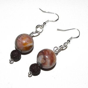 Milk Chocolate Jasper And Lava Earrings