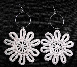 Crochet Cotton Yarn Daisy Earrings