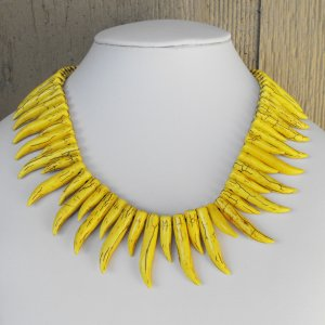 Yellow Curved Teeth Necklace