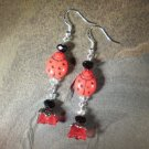 Czech Glass Lady Bug Dangle Earrings