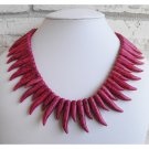 Red/Pink Curved Tooth Necklace
