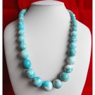 Sky Blue Spotted Big Bead Necklace