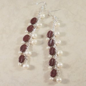 Super-Long Coffee and Cream Dangle Earrings