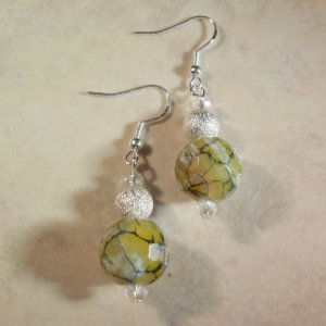 Rare Green Fire Agate Earrings