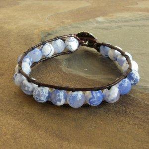 Faceted Blue Agate Beaded Gemstone Leather Wrap Bracelet