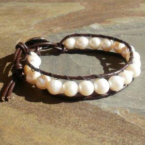 Geniune Freshwater Pearl Leather Wrap Bracelet