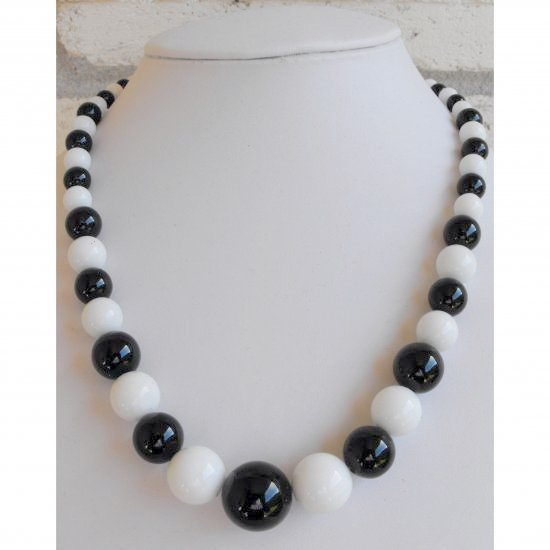 Black Agate And White Jade Necklace