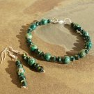 Green Natural Sea Sediment Stone Bracelet and Earring Set