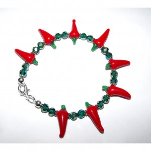 Sale! Spicy Hot Chilli Pepper and Crystal Bracelet