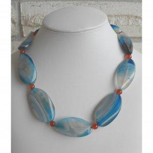 Blue Vein Agate Necklace