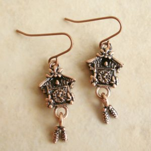 Cute German Cookoo Clock Brass Dangle Earrings