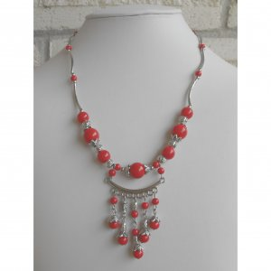 SALE! Coral Beaded Pendant Necklace