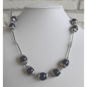 Lapis Lazuli Beaded Necklace And Earrings Set