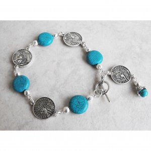 Indian Coin And Turquoise Bracelet