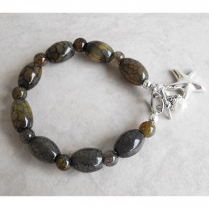 Dragon Vein Agate Bracelet With Fresh Water Pearl Accent