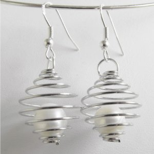 Caged Fresh Water Pearl Earrings