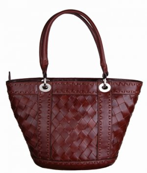 Alexandra Jordan Dark Brown Woven Leather Handbag